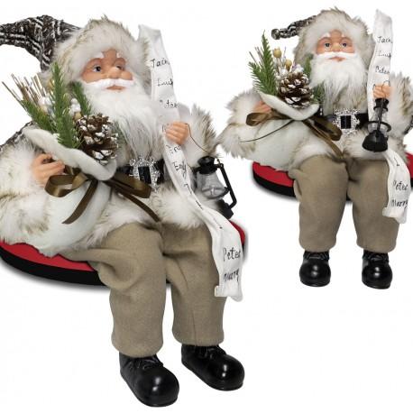 Père noël géant assis 40cm Tanguy Figurine pour décoration de noel