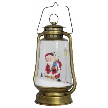 Lanterne rétro à Leds avec fontaine à neige Père Noël 35cm