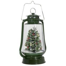 Lanterne rétro de Noël à Led fontaine à neige soufflante 35cm