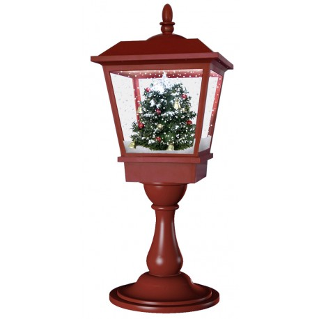 lanterne Led de table rétro fontaine à neige Sapin de Noël 65cm