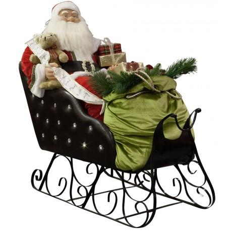 Père Noël Géant Animé dans son traineau, chantant130cm