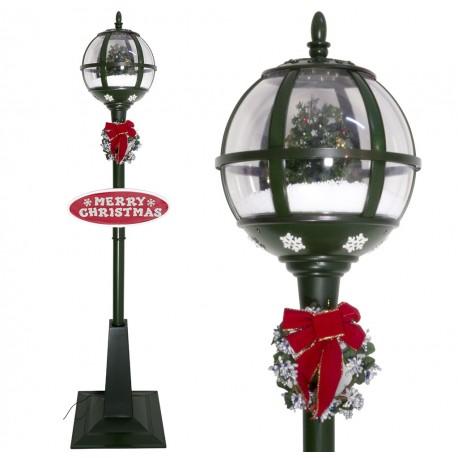 Lampadaire Led de Noël lanterne boule à neige animée 175cm