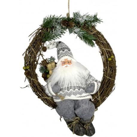 Figurine Père noël géant Nicolas sur couronne pour décoration de noel