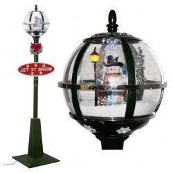 Lampadaire Led de Noël lanterne boule à neige 175cm