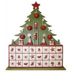 Calendrier de l'avent à tiroirs en sapin de Noël pour décorations de noel et décorations de vitrines