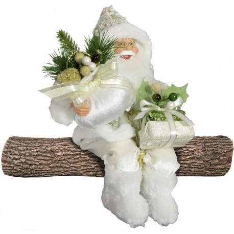 Père noël géant assis Tom 45cm Figurine pour décoration de noel