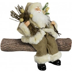 Père noël géant assis 30cm Tommy Figurine pour décoration de noel