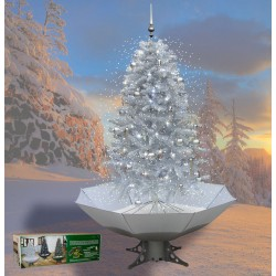 Sapin de Noël avec neige tombante en chute 200cm argent
