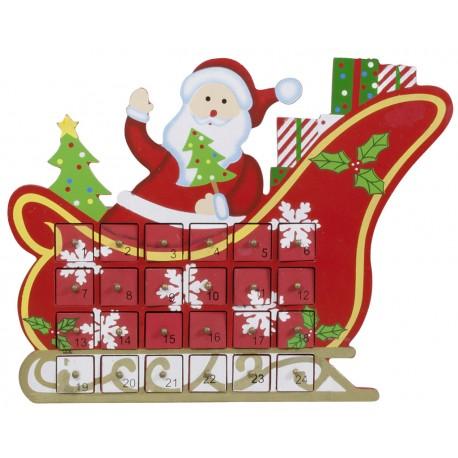 Calendrier de l'avent à tiroirs en bois en forme de traineau de Père Noël pour décoration de noel