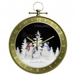 Horloge de Noël flocon de neige tombante 65cm