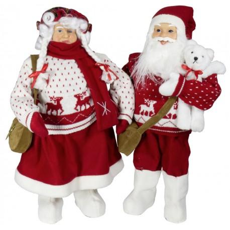 Couple de figurines p re et m re no l g ant 60cm pour - Pere et mere noel ...