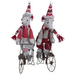 Couple de souris de noël géante à vélo 35cm
