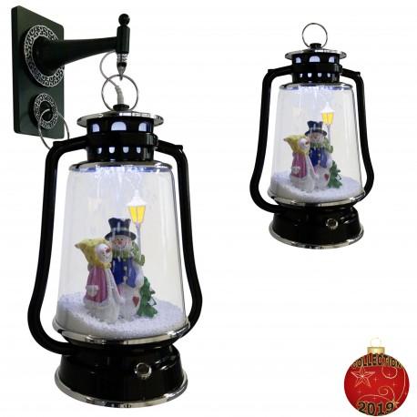 Décoration lumineuse Lanterne de Noël à Led fontaine à neige 36399