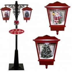 Lampadaire Led de Noël double lanterne à neige 195cm