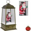 Lanterne rétro de Noël Led flocons de neige tombante 32cm
