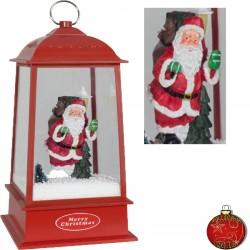 Lanterne rétro de Noël à Led fontaine à neige soufflante 32cm