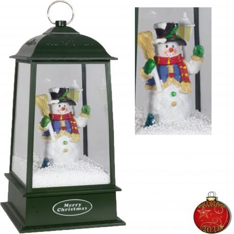 Décoration lumineuse noël LED animée. Lanterne pyramide musicale neige
