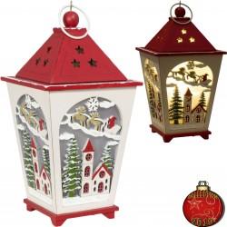 Décoration lumineuse Noël bois. Lanterne LED pour décoration de Noël