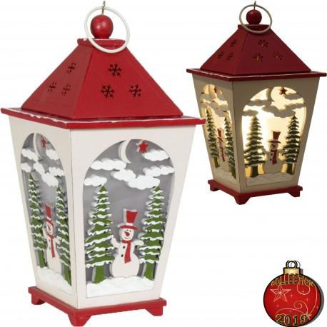 Décorations lumineuses Lanterne Led de Noël en bois 20cm Réf 39331