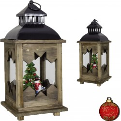 Décoration lumineuse Noël. Lanterne LED Noël bois 38 cm pas cher
