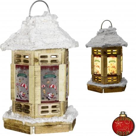 Décoration lumineuse Noël 35 cm. Lanterne LED bois écologique pas cher