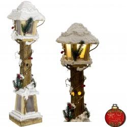 Décorations lumineuses Lanterne Led de Noël en bois 60cm Réf39496
