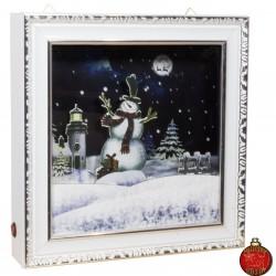 Décoration lumineuse Noël. Tableau mural LED carré neige tombante