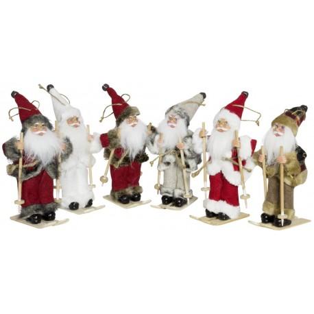 6 Figurines de Pères noël géant à ski pour décoration de noel