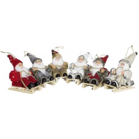 6 Figurines de Pères noël géant sur luge pour décoration de noel