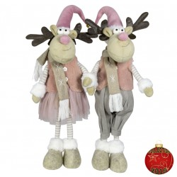 Couple Elan géant Savino5 Figurine pour décoration de noel et vitrine