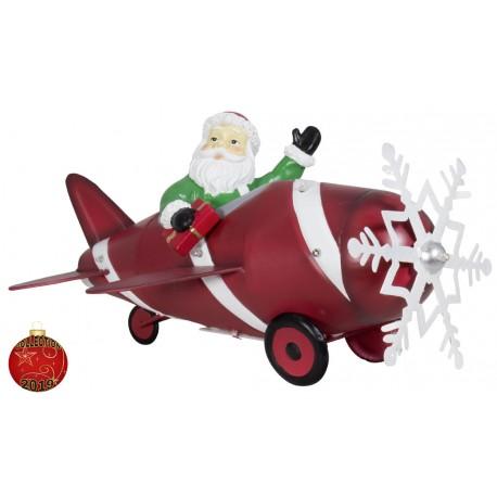 Père noël dans son avion en métal 33cm pour décoration de Noël