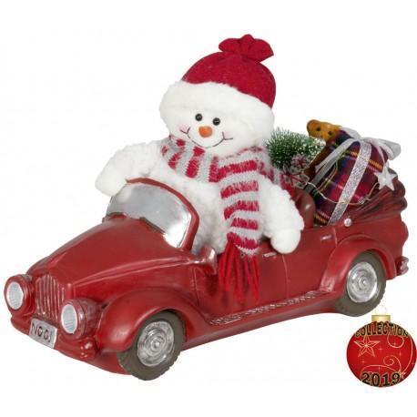 Bonhomme de neige auto Led en polyrésine pour décoration de Noël.