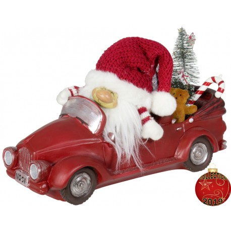 Gnom de noel dans auto à Led en polyrésine pour décoration de Noël.