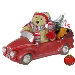 Ours de noel dans auto à Led en polyrésine pour décoration de Noël.