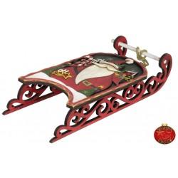 Luge de Noël décorative en bois 48cm pour vos décorations de Noël.