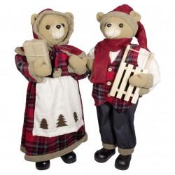Couple d'ours de Noël géant 60 cm