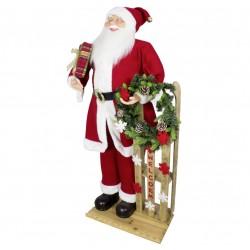 Figurine Père noël géant avec luge Kéan 120cm pour décoration de noel