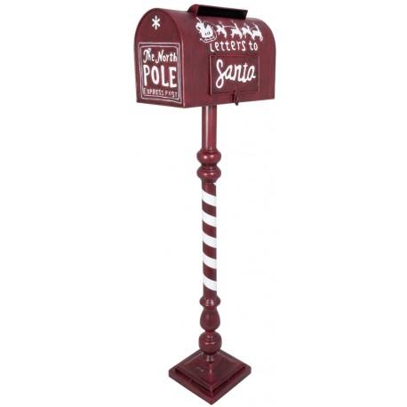 Boite à lettre du Père Noël rouge 102cm métal pour décoration de noël