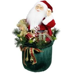 Père Noël Sac décorations lumineux et musical 60 cm