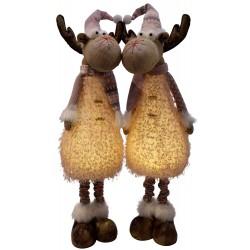 Couple d'élan de noël géant lumineux 75 cm