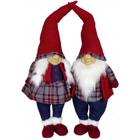 Couple Gnome 60 cm Adrie Figurines pour décoration de noel et vitrine