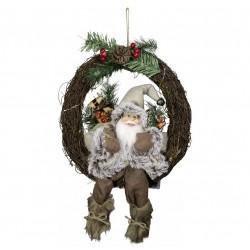 Figurine Père noël géant Edy sur couronne Led pour décoration de noel