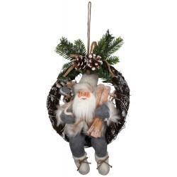 Figurine Père noël géant Glen sur couronne pour décoration de noel
