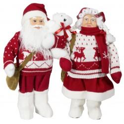 Couple père et mère Noël géant 45cm