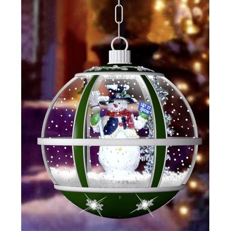 Lanterne boule à Leds avec fontaine à neige à suspendre 35cm