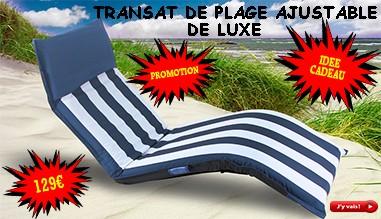 Transat  Matelas de Plage Ajustable, Pliable et Portable De luxe Bleu Blanc